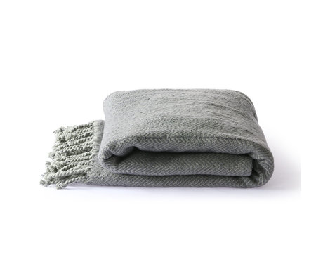 HK-living Plaid Brushed grijs paars katoen 130x170cm