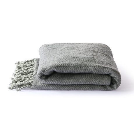 HK-living Plaid Brushed gray purple cotton 130x170cm