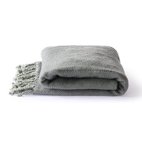 HK-living Plaid Coton brossé gris violet 130x170cm