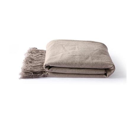 HK-living Plaid Zickzack taupe brauner Baumwolle 130x170cm
