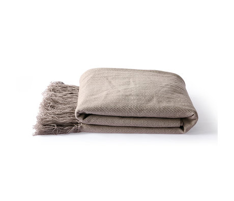 HK-living Plaid Zigzag taupe marron coton 130x170cm