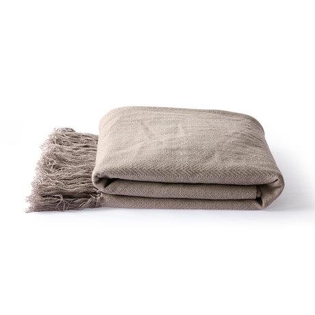HK-living Plaid Zigzag coton taupe marron 130x170cm