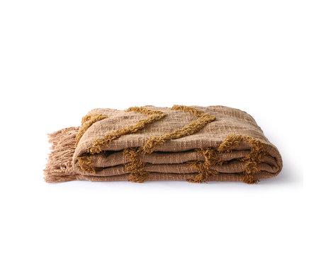 HK-living Plaid Fringe brown cotton 130x170cm
