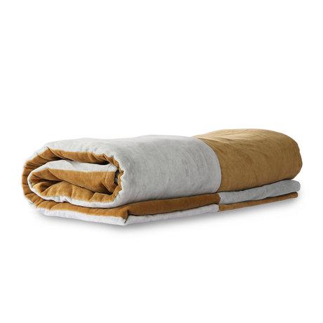 HK-living Couvre-lit en velours de coton rayé gris et or gris 240x260cm