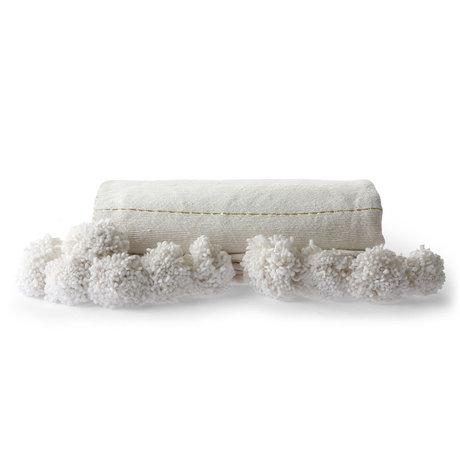 HK-living Plaid Rayé coton or blanc 130x70cm