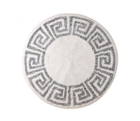 HK-living Tapis de bain / Tapis de bain coton grec gris crème blanc Ø80cm