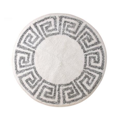 HK-living Teppich / Badematte griechisch cremeweiß grau Baumwolle Ø80cm