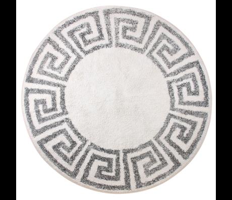 HK-living Tapis de bain / Tapis de bain grec Ø120cm en coton gris-blanc crème