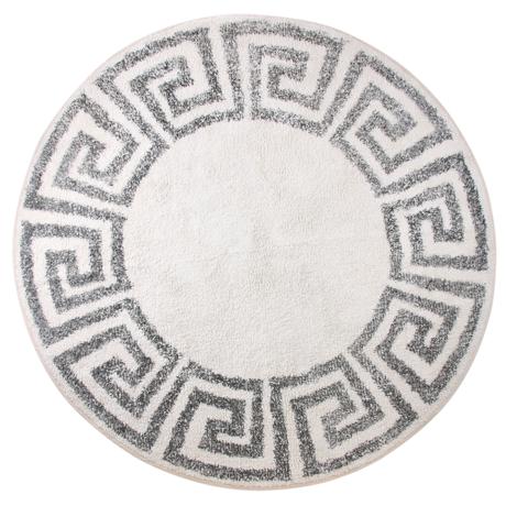 HK-living Teppich / Badematte Griechisch cremeweiß grau Baumwolle Ø120cm
