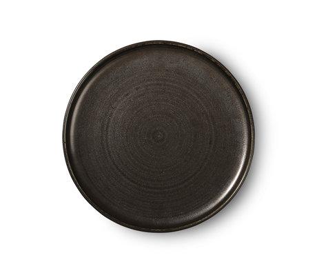 HK-living Assiette plate Kyoto porcelaine noire rustique 26x26x3cm