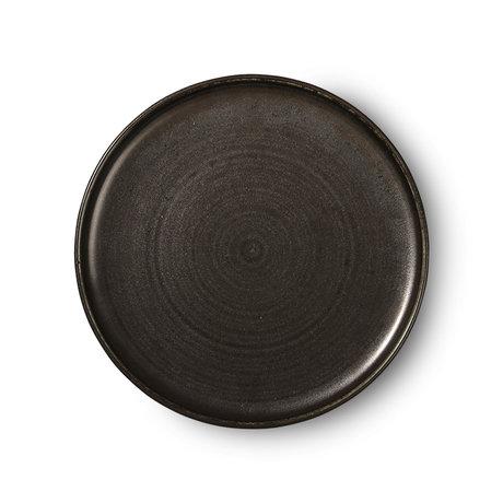HK-living Assiette à dîner Kyoto en porcelaine noire rustique 26x26x3cm