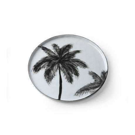 HK-living Dinerbord Bold&basic Palms zwart wit porcelein 22x22x1,5cm