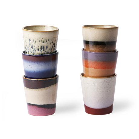 HK-living Ensemble de 6 tasses en céramique style 70's