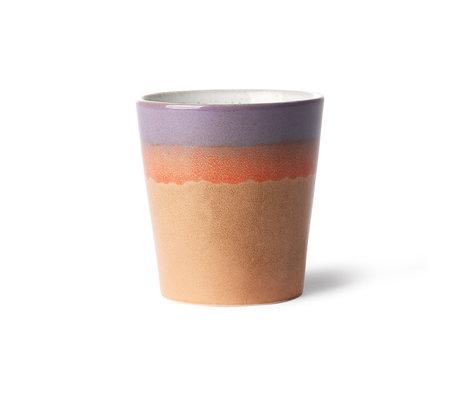 HK-living Becher 70's Sunset mehrfarbig Keramik 7,5x7,5x8cm