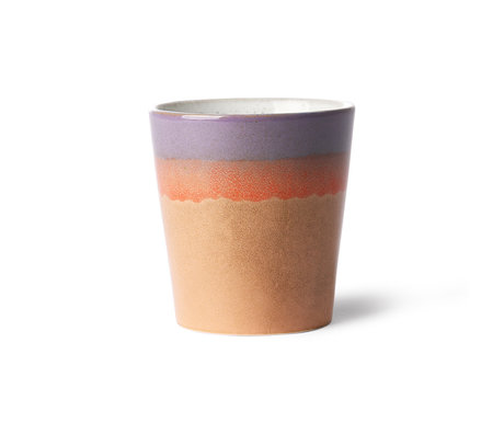 HK-living Mug 70's Sunset multicolour ceramic 7,5x7,5x8cm