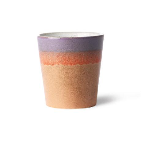 HK-living Mug 70's Sunset multicolore en céramique 7,5x7,5x8cm