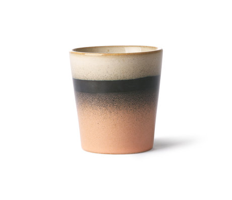 HK-living Mug 70's Tornado en céramique marron 7,5x7,5x8cm