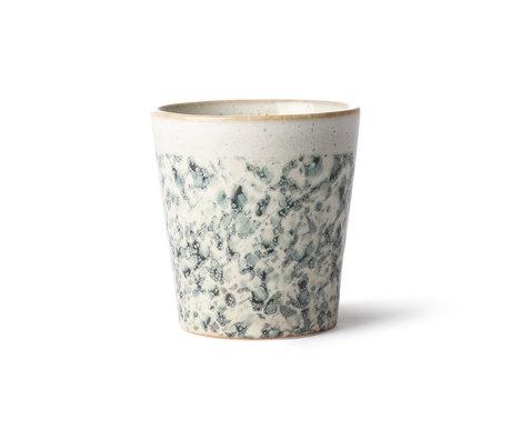 HK-living 70er Jahre Becher Hagel mehrfarbige Keramik 7,5x7,5x8cm