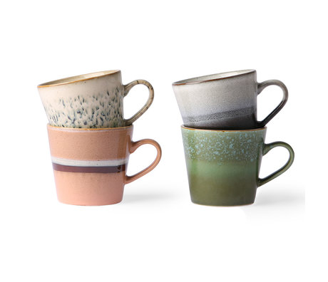 HK-living Cappuccinomok 70's multicolour keramiek set van 4