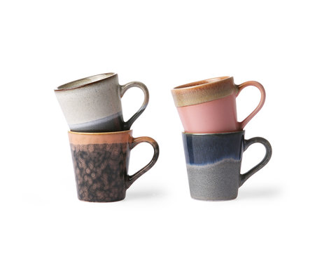 HK-living Espresso mug 70's multicolour ceramic set of 4