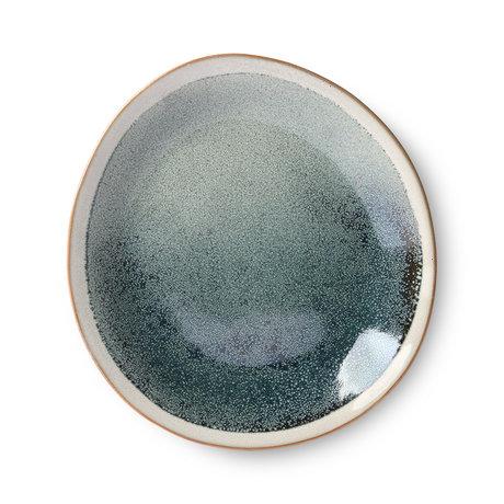 HK-living Teller 70er Jahre Mist grau blau Keramik 22x22x2cm