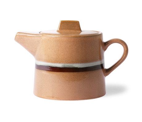 HK-living Teapot '70's style Stream peach orange multicolour ceramic 14x22,5x14cm