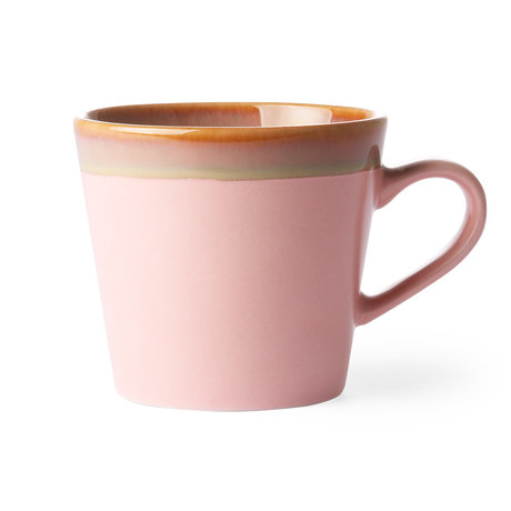 HK-living Cappuccino mug '70's style Pink pink ceramic 12x9.5x8.5 cm