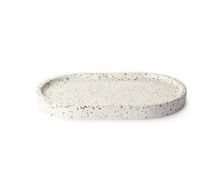 HK-living Plateau Oval Terrazzo blanc béton 32x20x3cm