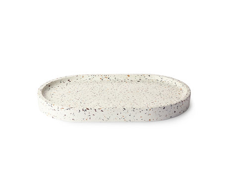 HK-living Tablett Oval Terrazzo weißer Beton 32x20x3cm