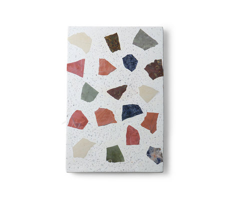HK-living Plank Terrazzo mehrfarbiger Granit Marmor 30x25x1.5cm