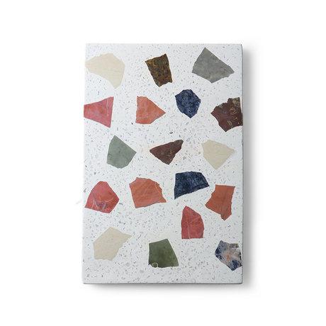 HK-living Plank terrazzo multicolour granite marble 30x25x1.5cm