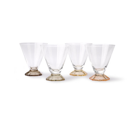 HK-living Cocktailglas Coloured multicolour glas set van 4