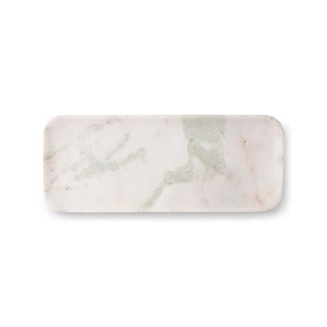 HK-living Plateau en marbre blanc vert rose marbre 30x12x1,5cm