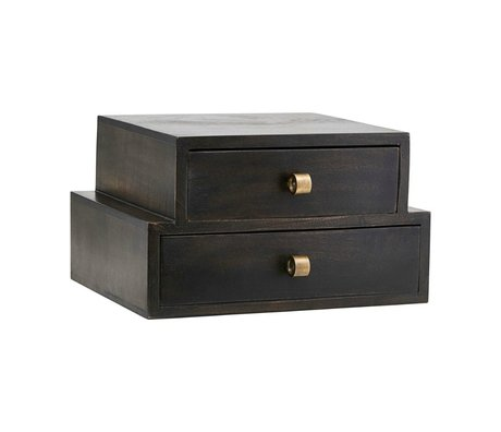Housedoctor Storage box Club dark brown wood 40x40x22cm
