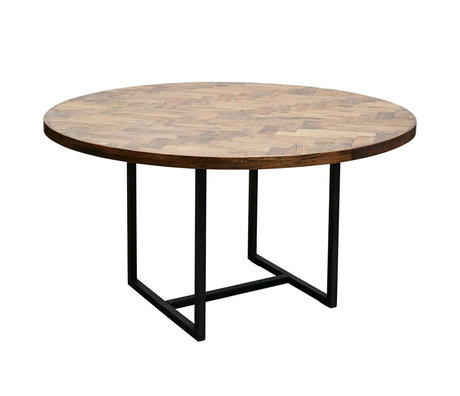 Housedoctor Eettafel Kant bruin zwart hout metaal Ø140x74cm