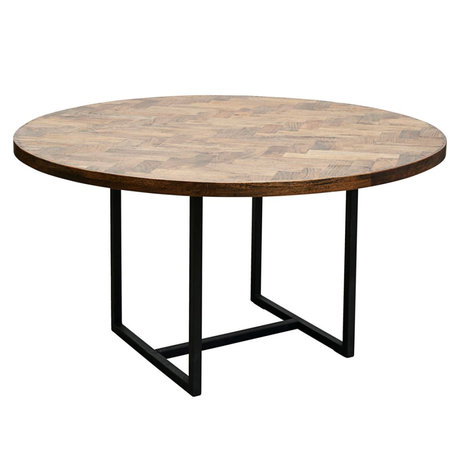 Housedoctor Table à manger Dentelle brun noir bois métal Ø140x74cm
