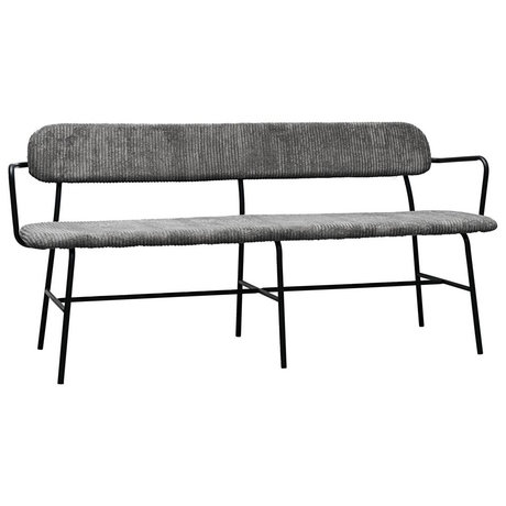 Housedoctor Dining room bench Classico dark gray textile steel 160x42x77cm
