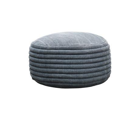 Housedoctor Poef Strings grijs blauw textiel Ø80x40cm