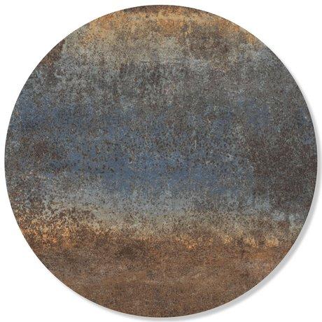 Groovy Magnets magneetsticker rusty metal staal blauw zelfklevend vinyl met ijzerdeeltjes Ø60cm