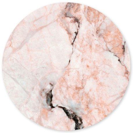 Groovy Magnets magneetsticker marble rosette roze zelfklevend vinyl met ijzerdeeltjes Ø60cm