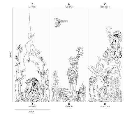 Groovy Magnets Papier peint magnétique en vinyle de girafe de jungle avec des particules de fer 102x265cm