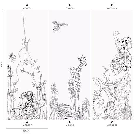 Groovy Magnets Papier peint magnétique écriture vinyle girafe de la jungle avec des particules de fer 102x265cm