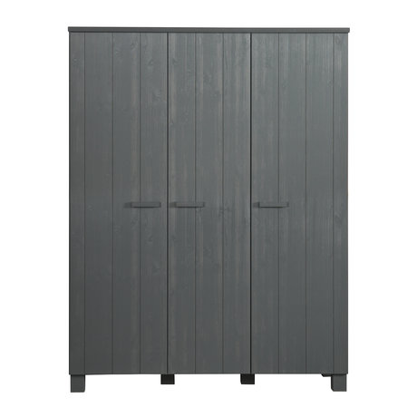 LEF collections 'Dennis' wardrobe steel gray brushed pine 158x55x202cm