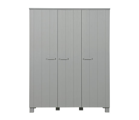 LEF collections 'dennis' wardrobe concrete gray brushed pine 158x55x202cm