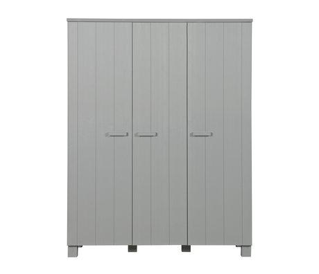 LEF collections kledingkast 'dennis' betongrijs geborsteld grenen 158x55x202cm