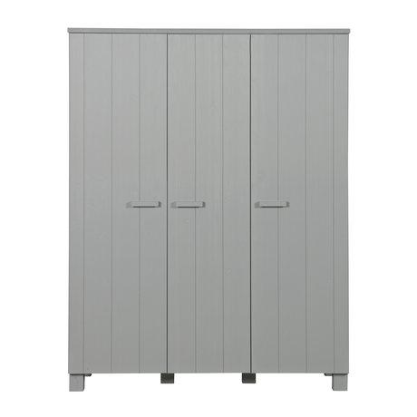 LEF collections 'Dennis' Kleiderschrank Beton grau gebürstet Kiefer 158x55x202cm