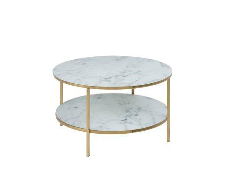 mister FRENKIE Couchtisch Rosa Marmor Weißgold Glas Metall Ø80x45cm
