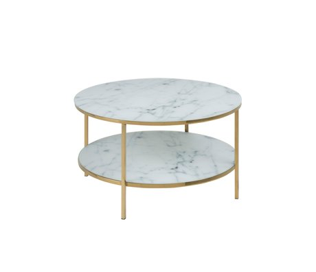 mister FRENKIE Salontafel Rosa marmer wit goud glas metaal Ø80x45cm