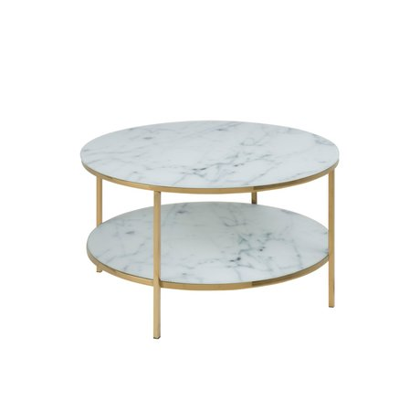 mister FRENKIE Coffee table Rosa marble white gold glass metal Ø80x45cm
