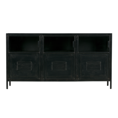 LEF collections Ronja Sideboard aus schwarzem Metall 143x37x75.5cm